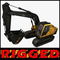 excavator rigged c4d
