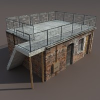 3d derelict building exterior modelled model