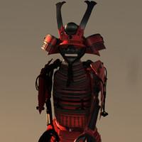 samurai armor 3d obj