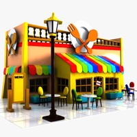 3d cartoon restaurant toon