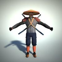 Samurai character lowpoly