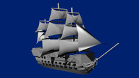 18th century warship ship 3d model