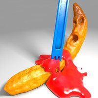 french fries ketchup 3d c4d