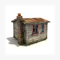 3d model small wooden building