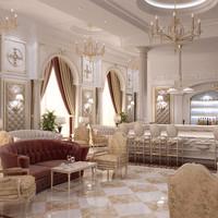 3d hotel lounge model