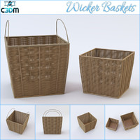 wicker baskets 3d dwg