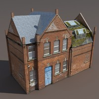 3d old building modeled model