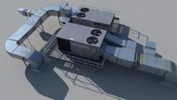 3d model rooftop ac hvacs