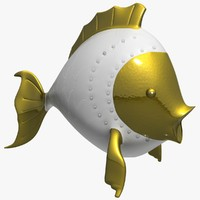 3d model porcelain fish