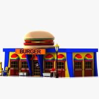 Cartoon Burger Restaurant