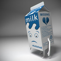 3d milk box character model