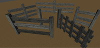 old wooden fence kit 3d model