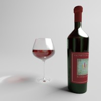 red wine glass bottle 3d model