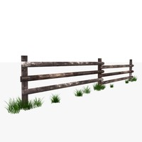 Rustic fence - Wooden Low Poly