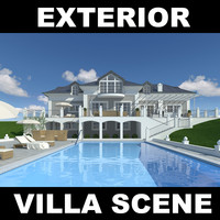 villa pool house 3d model
