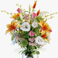 flowers bouquet 3d obj