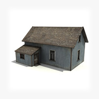 3d model of old wooden house low-poly building
