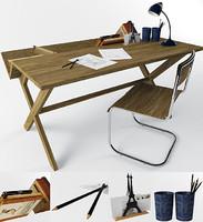 3d model table chair decor