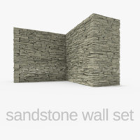 3ds sandstone wall set stones rocks