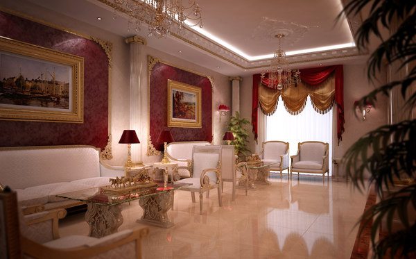 Scene luxurious dining room 3d max for Dining room 3d max interior scenes