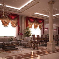 3d model scene luxurious dining room