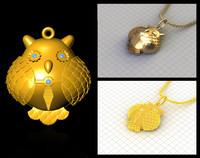 owl pendant stl prototyping 3dm