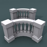 curve balustrade bend 3d 3ds