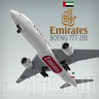 3d boeing 777-200 plane emirates