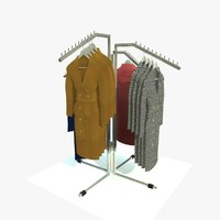 retail stand rack coats 3d model