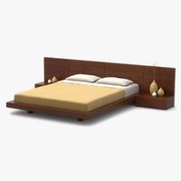 modern bed cherry wood 3d model
