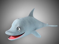 3d model dolphin cartoon character uni