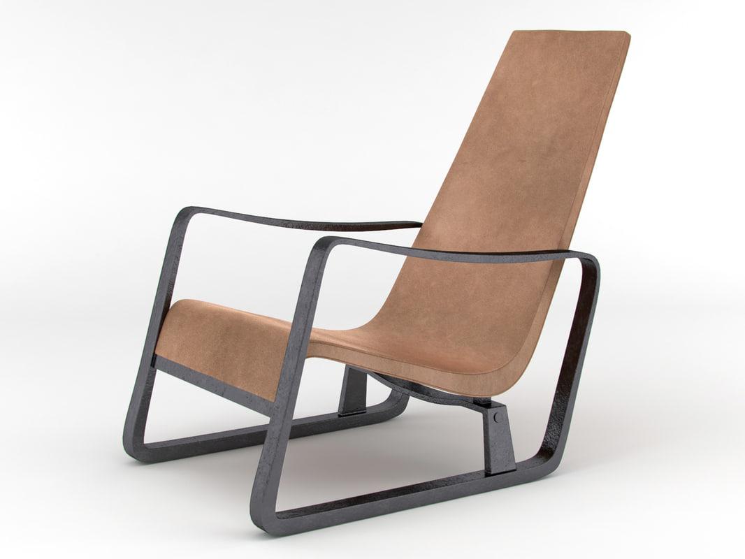 fauteuil cite jean prouve 3d model. Black Bedroom Furniture Sets. Home Design Ideas