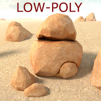 boulder sandstone rock low-poly 3d model