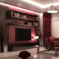 3d scene living room model