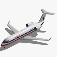 3d model of bombardier crj-200 american eagle