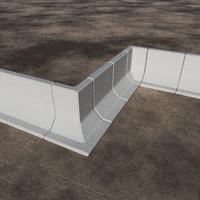 free elements t-wall barriers 3d model