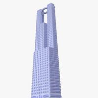 free obj model futuristic skyscraper