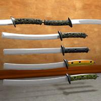 3d model of saber staff swords