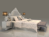 3d model bed set mattress pillow