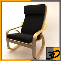ikea poang rocky chair 3d 3ds