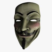 mask v vendetta 3d c4d