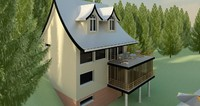 3d model seaside cottage