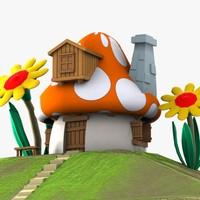 3d mushroom house smurf