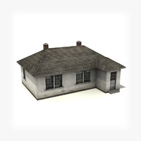 3d house building low-poly