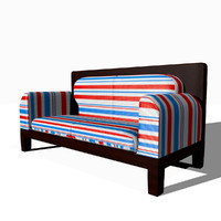 striped sofa couch 3d obj