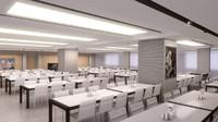 3d model canteen interior scene