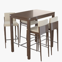 3d model of alvito table chairs bar