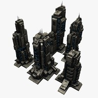3d model 5 sci fi city buildings