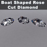 3d boat shaped rose cut diamond