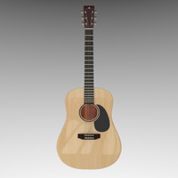 acoustic guitar 3d obj